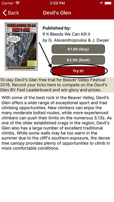 Free rakkup guides for the 2018 Beaver Valley Climbing Festival